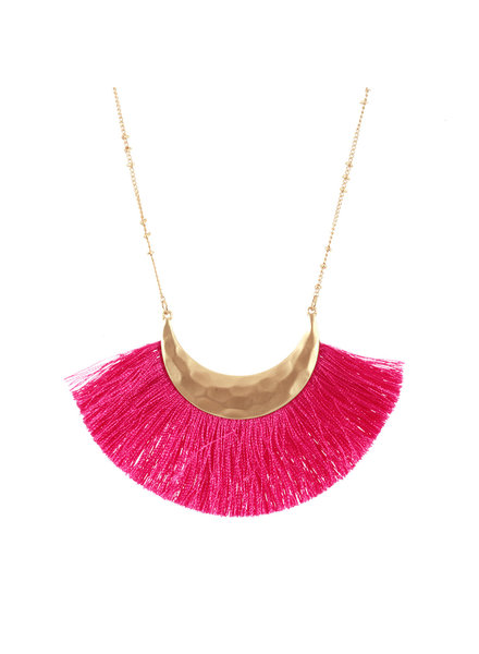 Wholesale Boutique Hot Pink Fringe Necklace