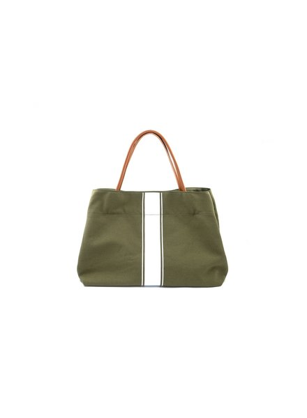 White Stripe Army Tote
