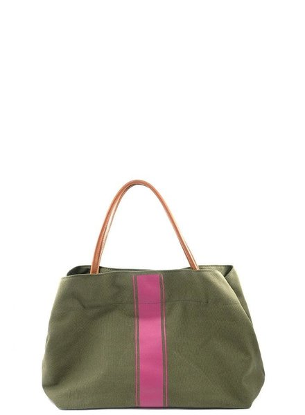 Pink Stripe Army Tote