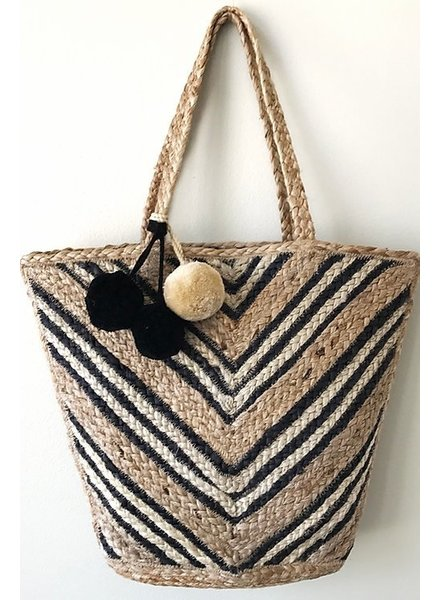 1968 & Co. Chevron Striped Jute Tote
