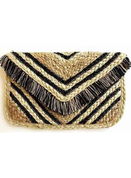 1968 & Co. Chevron Striped Jute Clutch