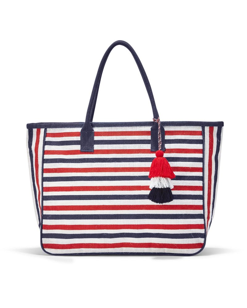 Two's Company Two's Company Striped Jute Tote Bag -
