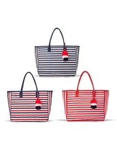 Two's Company Red White & Blue Striped Jute Tote Bags