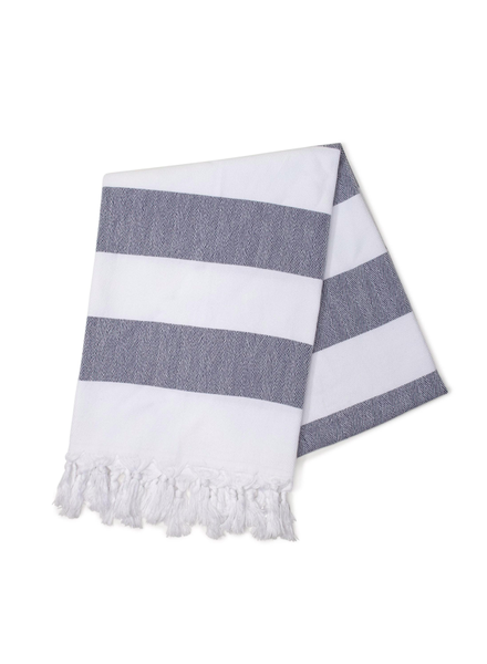 Hello Poolside Navy Cabana Stripes Turkish Towel