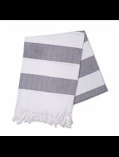 Hello Poolside Charcoal Cabana StripesTurkish Towel