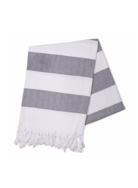 Hello Poolside Charcoal Cabana StripesTurkish Towel