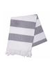Hello Poolside Hello Poolside Turkish Towel - Charcoal Cabana Stripes With Monogram