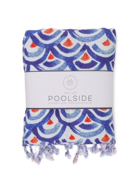 Hello Poolside Shibori Waves Turkish Towel