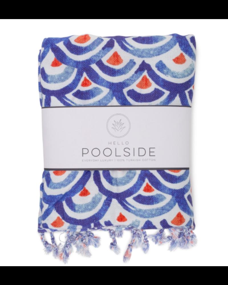 Hello Poolside Hello Poolside Turkish Towel - Shibori Waves With Monogram