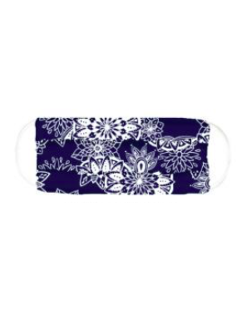 Lotus & Luna Navy & White Print Pleated Face Mask