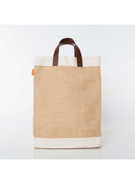 CB Station Jute Market Tote With Leather Handles