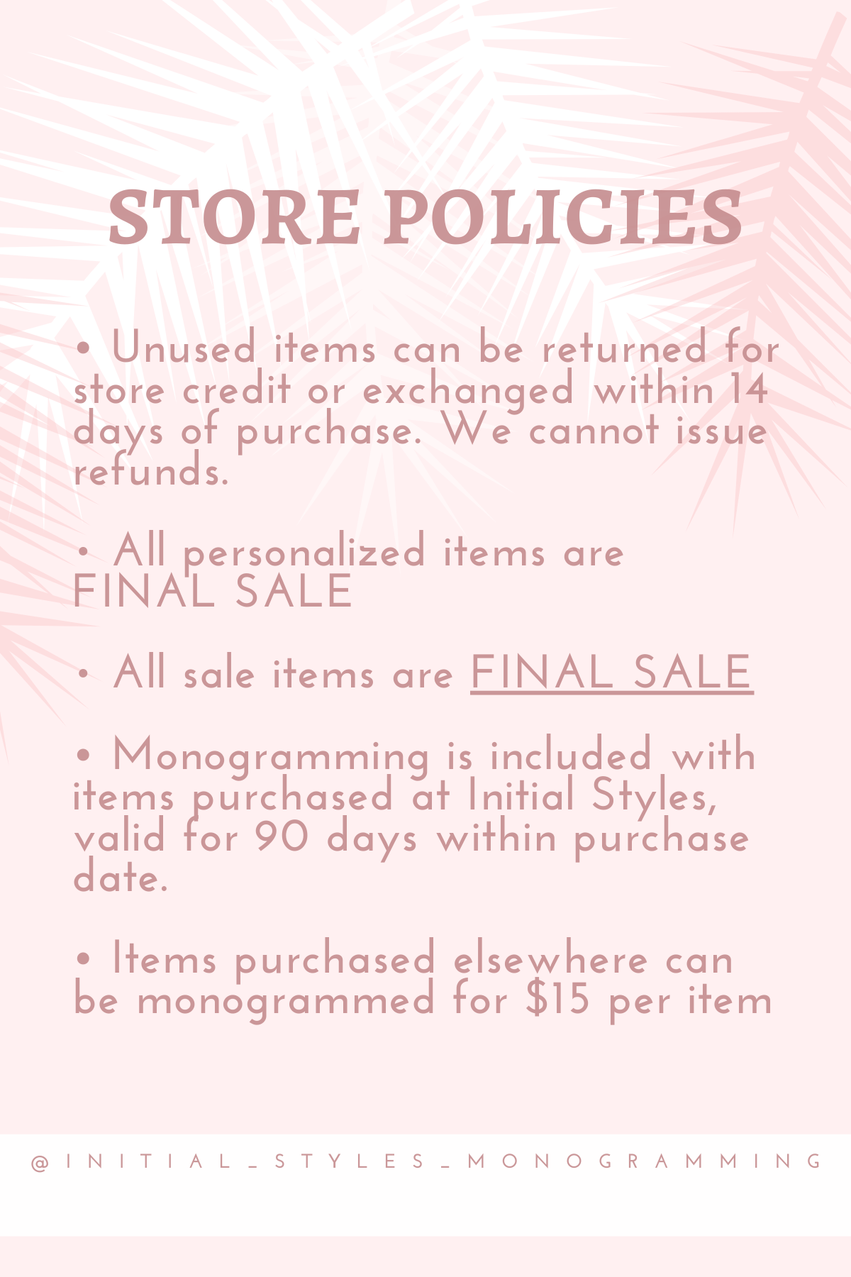 Initial Styles Gift Boutique Store Policies