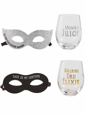 Mudpie Mudpie Mom & Dad Halloween Wine Glass & Mask