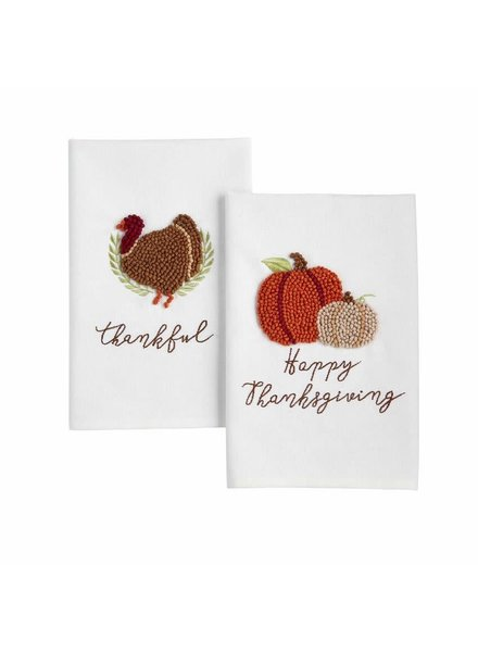 Mudpie French Knot Thanksgiving Towels