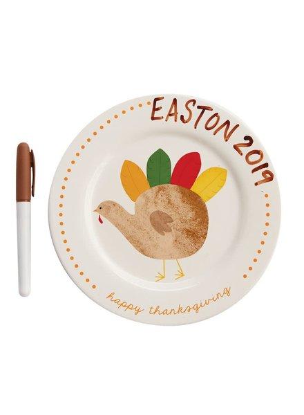 Mudpie Thanksgiving Turkey Hand Print Plate