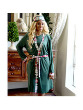 ROYAL STANDARD Green Plaid Tidings Monogrammed Robe