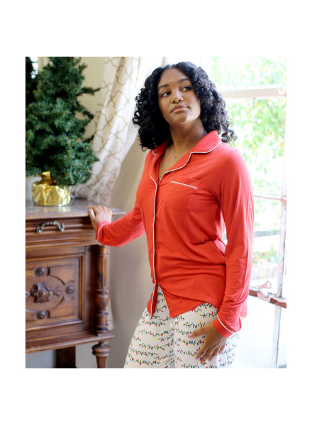 ROYAL STANDARD Red Monogrammed Pajama Shirt