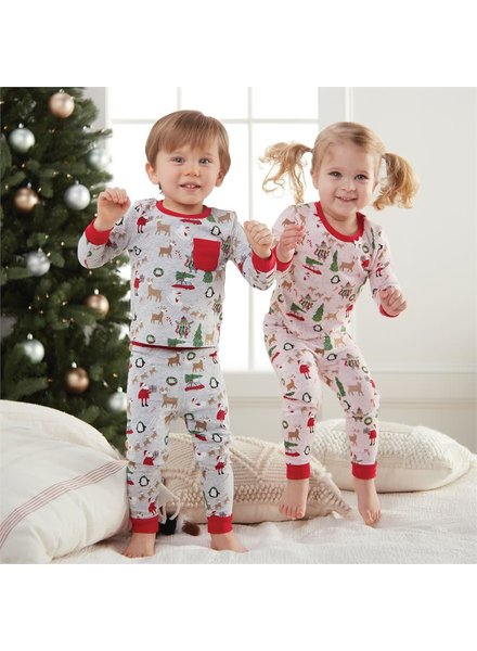 Mudpie Christmas Print Toddler Pajama Set