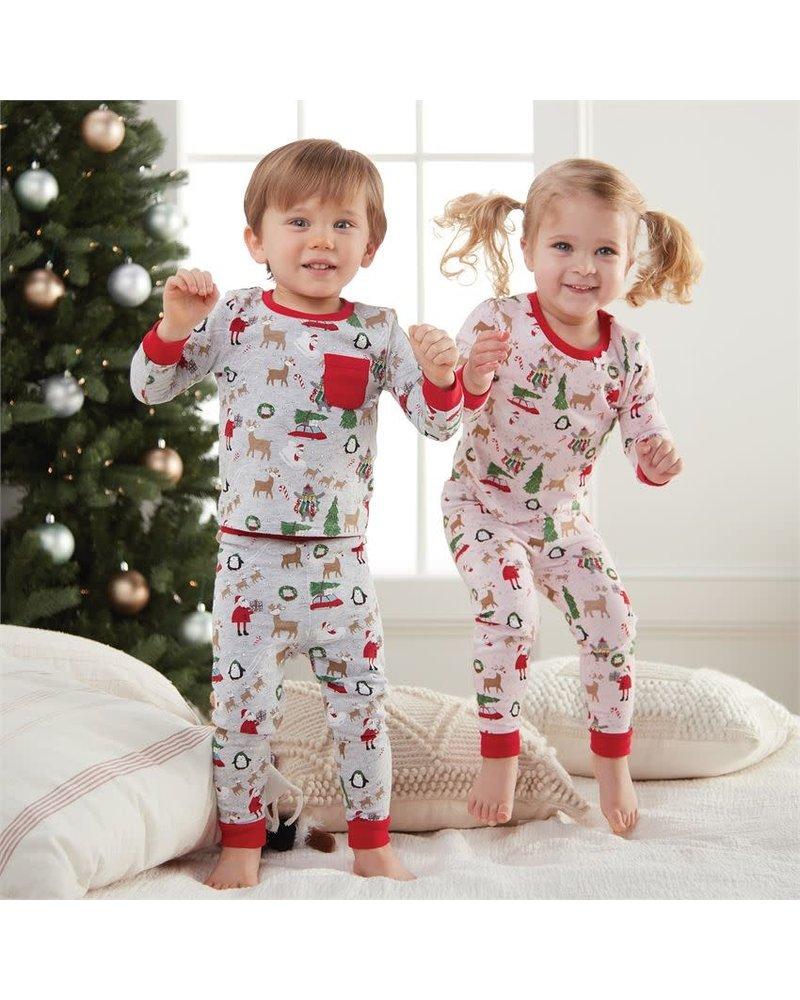 Mudpie Mudpie Christmas Print Toddler Pajama Set