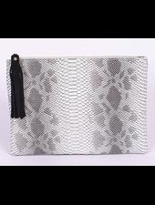H&D LA Showroom Light Grey Snakeskin Zip Clutch