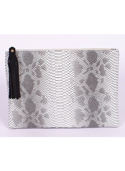 H&D LA Showroom Light Grey Snakeskin Zip Clutch