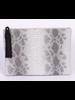 H&D LA Showroom Light Grey Snakeskin Zip Clutch With Tassel
