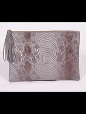 H&D LA Showroom Grey Snakeskin Zip Clutch