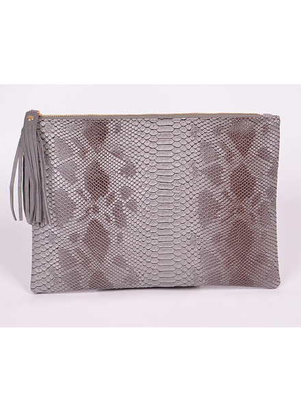 H&D LA Showroom Grey Snakeskin Zip Clutch