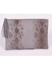 H&D LA Showroom Grey Snakeskin Zip Clutch With Tassel