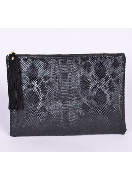 H&D LA Showroom Black Snakeskin Zip Clutch