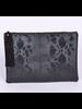 H&D LA Showroom Black Snakeskin Zip Clutch With Tassel