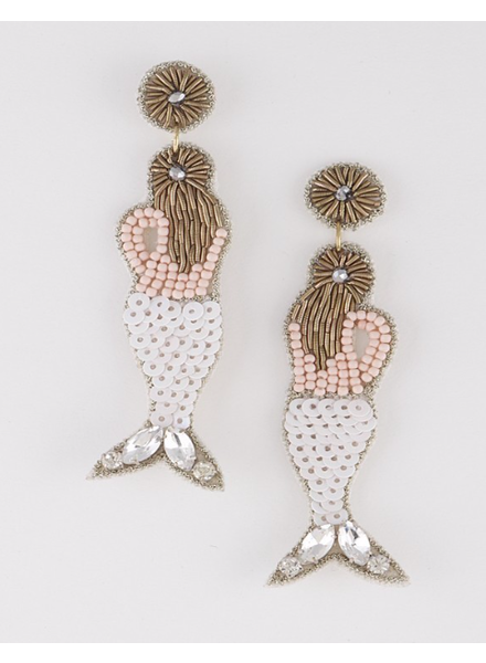 H&D LA Showroom White Beaded Mermaid Earrings