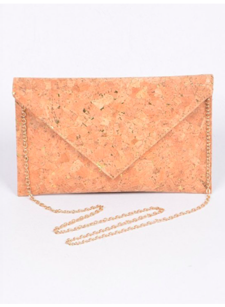 H&D LA Showroom Cork & Silver Envelope Clutch
