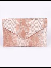 H&D LA Showroom Blush Snake Envelope Clutch