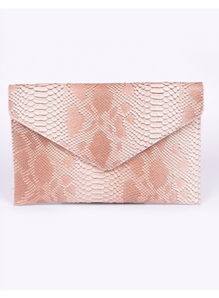 H&D LA Showroom Blush Snake Envelope Clutch