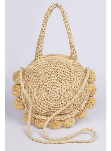 H&D LA Showroom Ivory Pom Pom Straw Crossbody