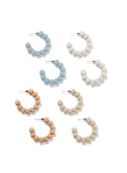 Two's Company Knotted Hoop Earrings - 4 Color Ways