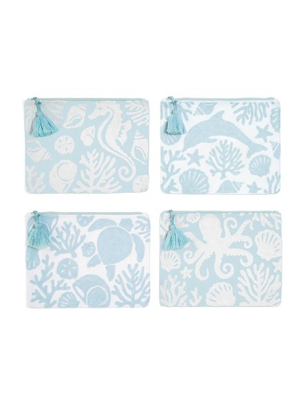 Two's Company Embroidered Shore Pouch - 4 Designs
