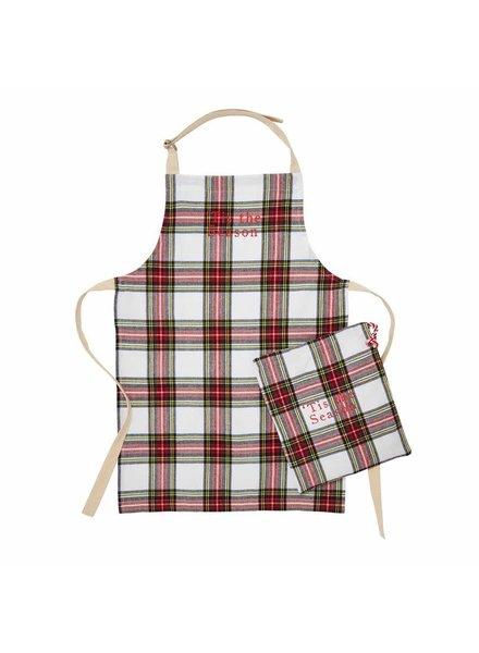 Mudpie White Tartan Tis' The Season Apron