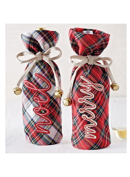 Mudpie Mudpie Tartan Wine Bag - Merry or Noel