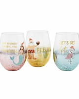 Mudpie Beachy Christmas Wine Glasses