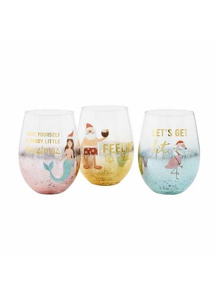 Mudpie Beachy Christmas Wine Glasses