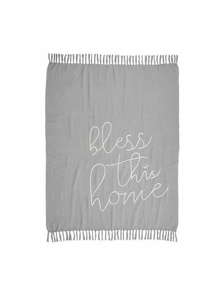 Mudpie Bless This Home Tassel Blanket