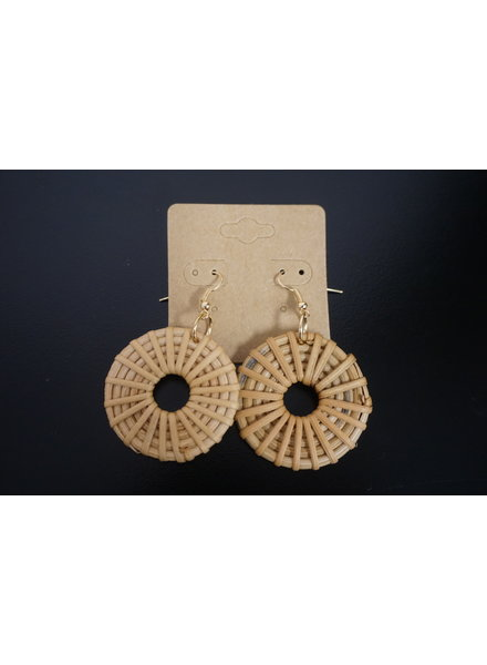 Initial Styles SUP Boho Rattan Hook Earrings - Concentric Thin Circle