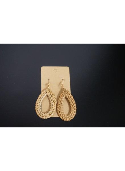 Initial Styles Rattan Drop Earrings - Open Teardrop