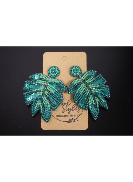 Initial Styles WAM Seed Bead Earrings - Green Palm Leaf