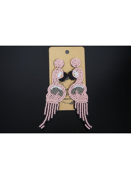Art Box Art Box Earrings - Beaded Flamingo