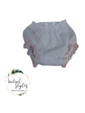 Embroider This White Baby Bloomer - Pink Eyelet -