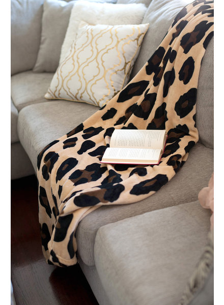 Wholesale Boutique Monogrammed Leopard Throw Blanket