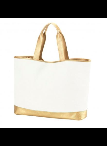 Wholesale Boutique Creme & Gold Cabana Tote Bag